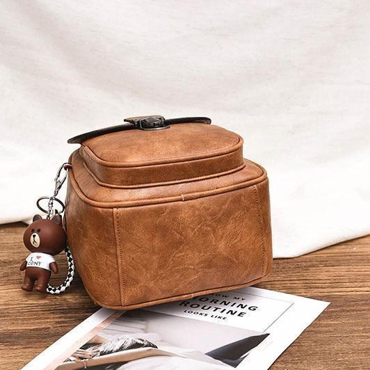 Plain Fashion Buckle Casual Backpack