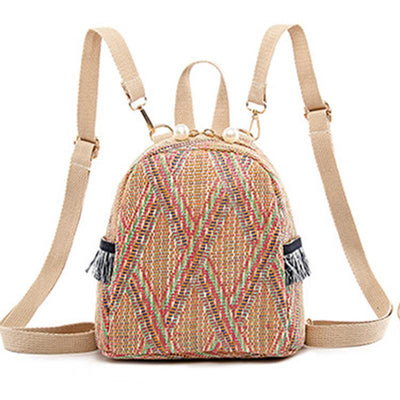Lightly Design Straw Woven Backpack