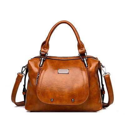 Women's bag cross-border new retro oil skin ladies handbag large capacity classic wild single 134453