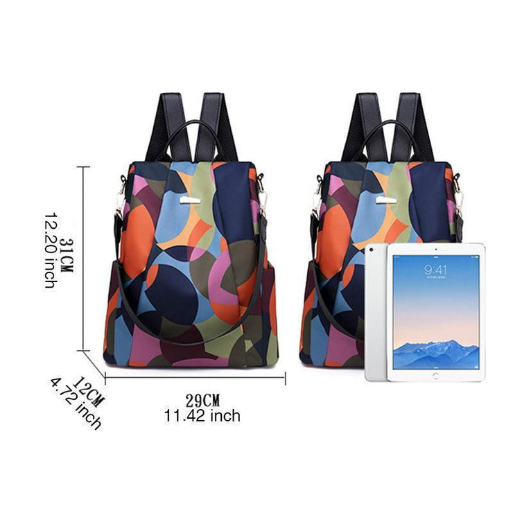 Anti-theft backpack women's new Korean casual Oxford cloth waterproof multi-functional backpack