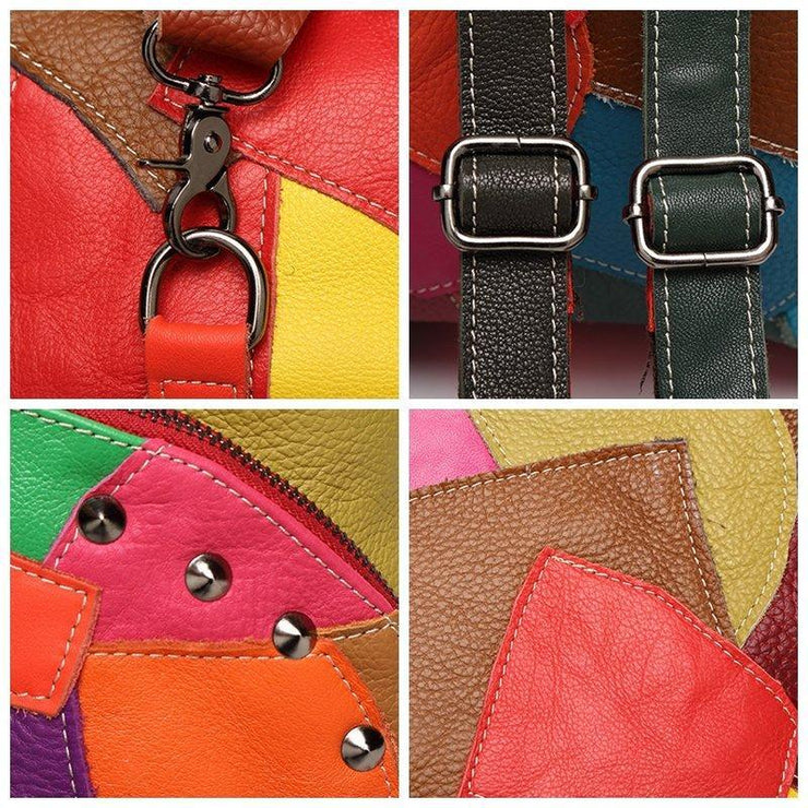 Women Casual Patchwork Genuine Leather Large Capacity Crossbody Bags Backpack