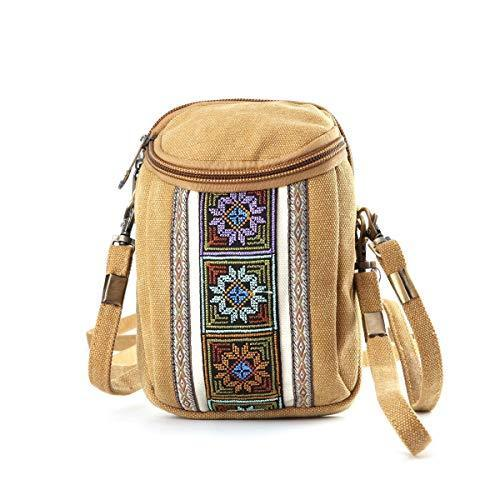 Women Embroidery Canvas Crossbody Bag Cell phone Bag