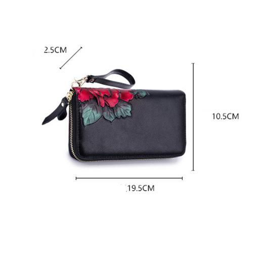 135314 Rose purse lady long leather rfid signal shield