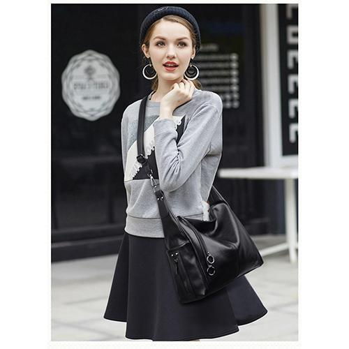 135344 Single shoulder bag casual commuter bag European and American lady bag mother soft leather