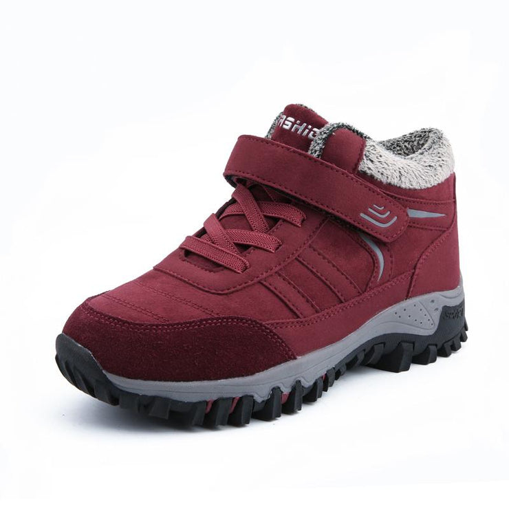 Women Breathable Mesh Warm Lined Hook Loop Comfy Casual Boots Sneakers
