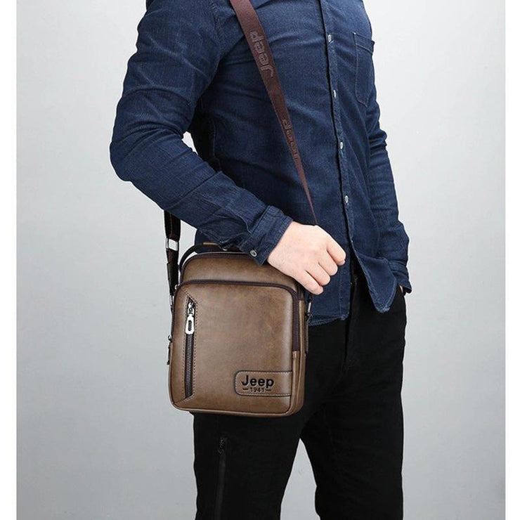 Men's Polyester Zipper Closure Vertical Messenger Shoulder Bag Crossbody Bags
