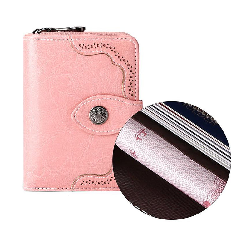 Women's leather short zipper retro wallet