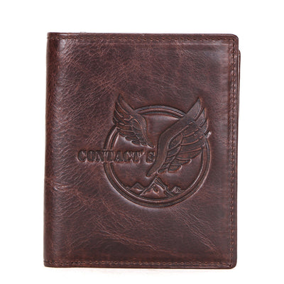 Men's new leather wallet multi-function three-fold vertical wallet