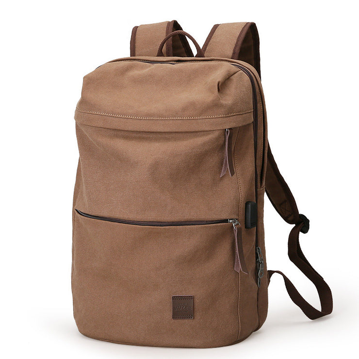 Men's New Fashion Retro Canvas Rechargeable Student Computer Backpack