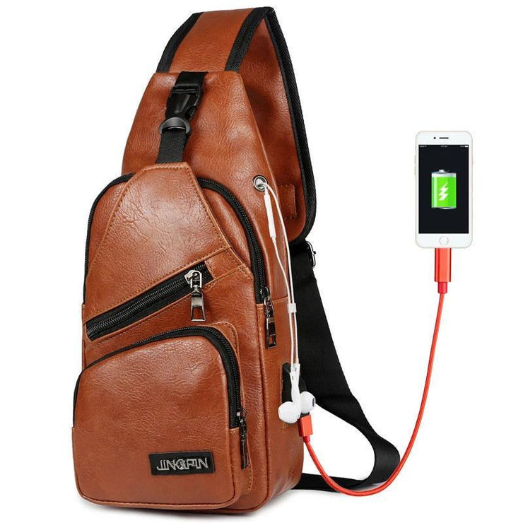 Men's Large Capacity Casual Outdoor Travel USB Charging Port Sling Bag