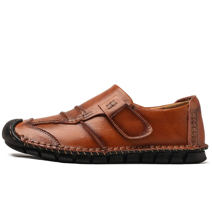 Men Hand Stitching Non Slip Anti-collision Slip On Soft Sole Casual Leather Shoes