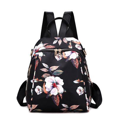 Women's fashion nylon flower travel school backpack