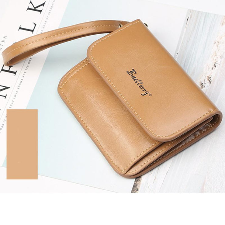 Women's Casual Leather Buckle Multi-card Short Wallet