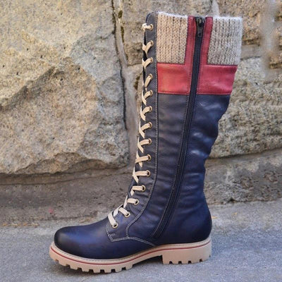 Women Snow Boots Lace-up Zipper Casual Knee Boots Warm Shoes