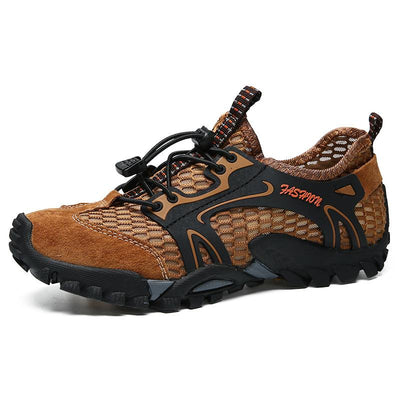 Men Mesh Breathable Outdoor Lace Up Slip Resistant Hiking Shoes