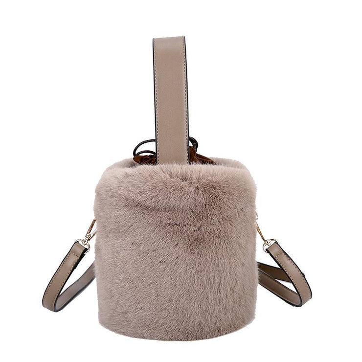 Winter fashion velvet shoulder slung bucket bag