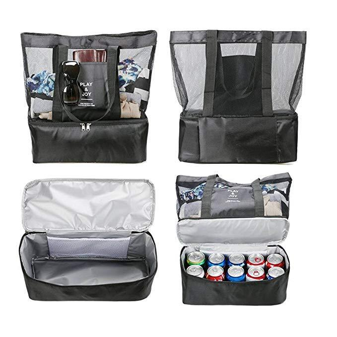 Mesh Beach Tote Bag Insulated Picnic Cooler Travel Bag