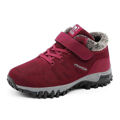 Women Winter Warm Lined Knit Suede Splicing Hook Loop Sports Shoes