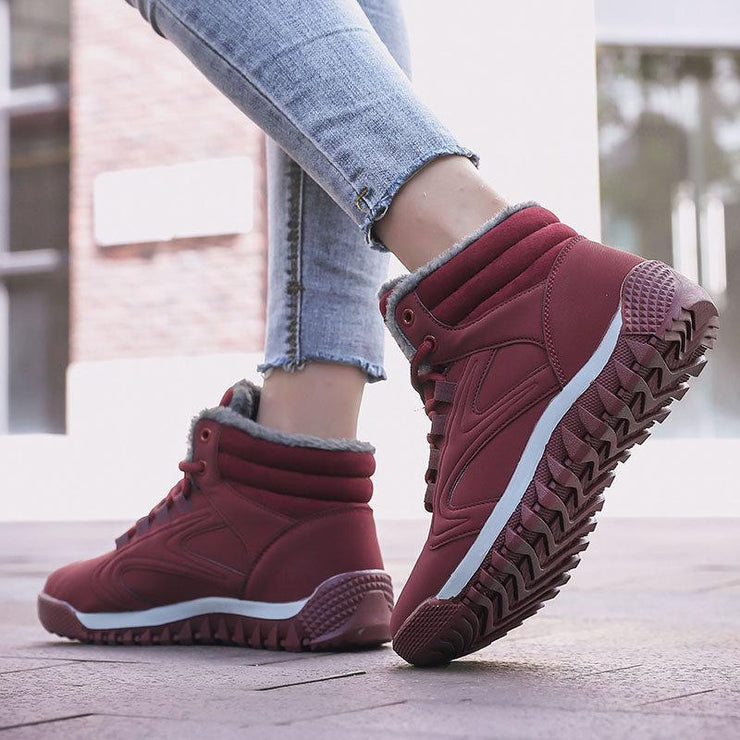 Women's Warm Lining High Top Lace Up Winter Casual Ankle Boots