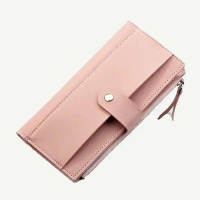 Women Magnetic Button Fold Over Wallet
