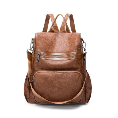 Women's PU casual mummy bag large capacity backpack