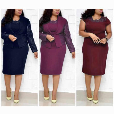 Women's clothing suit collar beads lace stitching heavy work jacket dress two-piece suit dress
