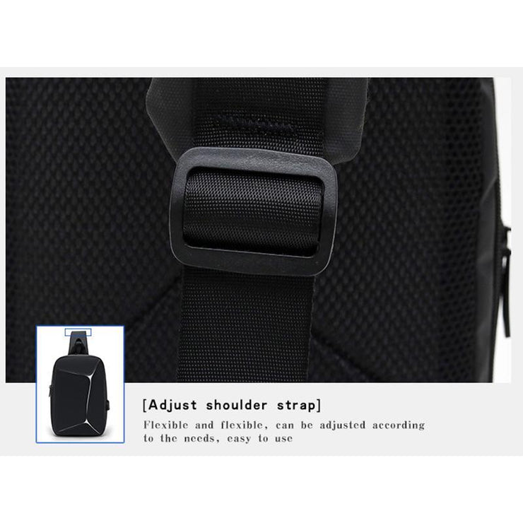 Men's Chest Bag with USB Charging Port Lightweight Waterproof Messenger bag
