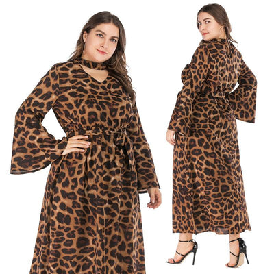 Womens'  horn long sleeve waist long skirt collar V-neck leopard plus size dress