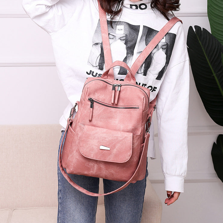Womens' new women's bag pu backpack fashion retro