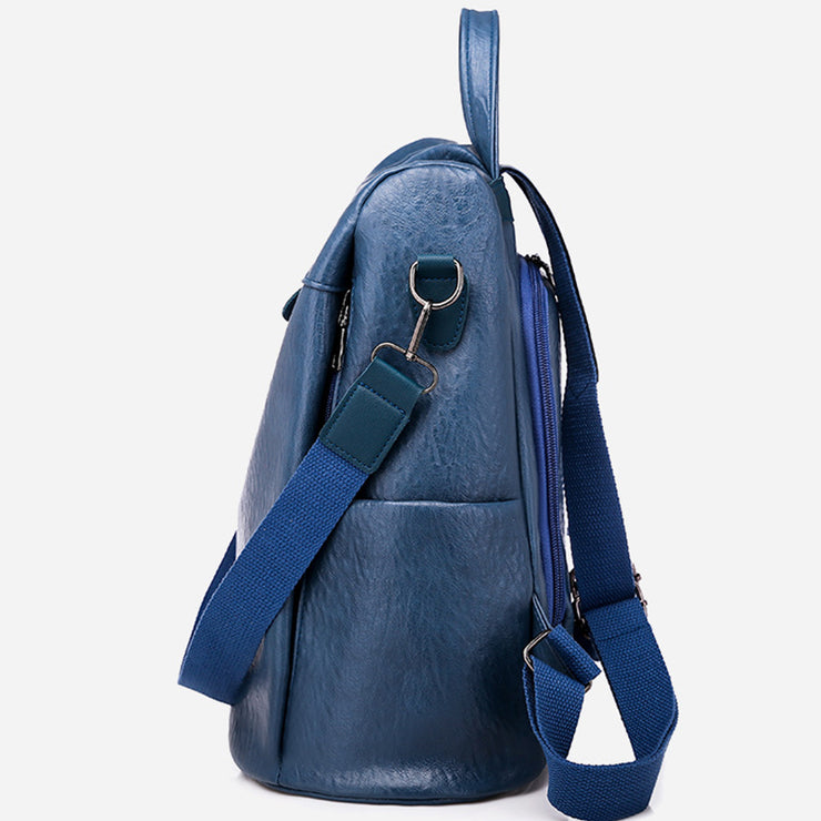 Women's Multi-Function PU Soft Leather Large Capacity Backpack