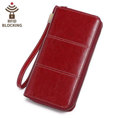 Women's wallet long leather RFID anti-theft brush wallet