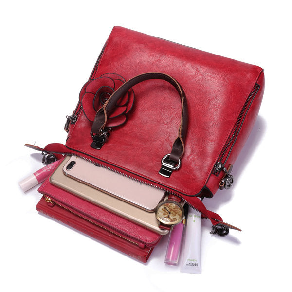 Women's Retro Faux Leather Hangdbag Pure Color Large Capacity Korea Style Crossbody Bag