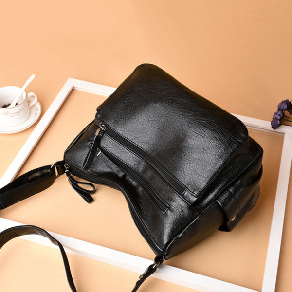 Women Soft PU Solid Hobos Crossbody Bag Multi-Slot Shoulder Bag