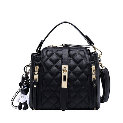 Women's Faux Leather Argyle Handbag Crossbody Bag Bucket Bag