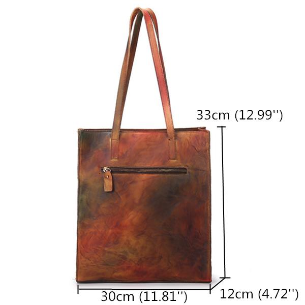 Women's Vintage Genuine Leather Women Handbags High Capacity Handmade Brush Color Shopping Bags