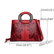 Women Vintage Embossed Tote Handbag Large Capacity National Crossbody Bag