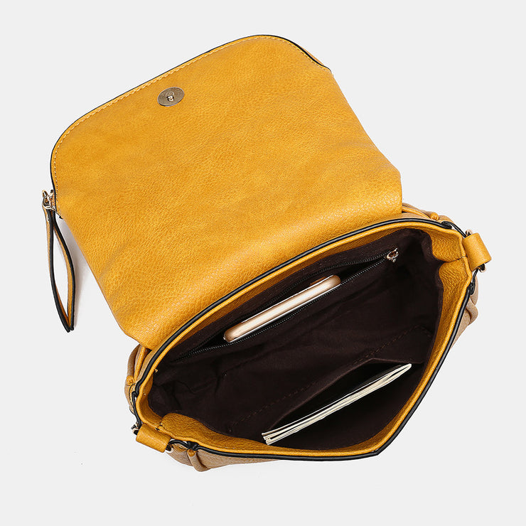 Women Flap Soft Leather Expandable Crossbody Bag