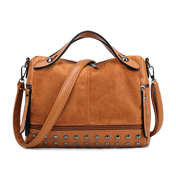 Women Vintage Rivet Boston Bag Handbag Shoulder Bag
