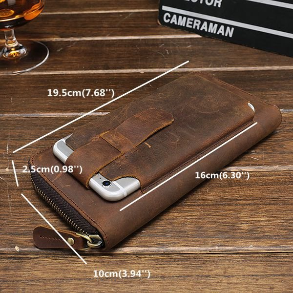 Men's Genuine Leather Vintage Coin Bag Business Zipper Long 5.5 Inche Phone Wallet
