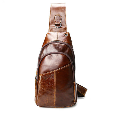 Men's Vintage Genuine Leather Crossbody Bag Chest Bag