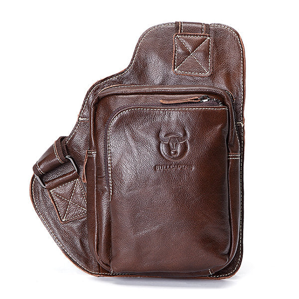 Men's Business Genuine Leather Casual Outdoor Chest Crossbody Bag Shoulder Bag