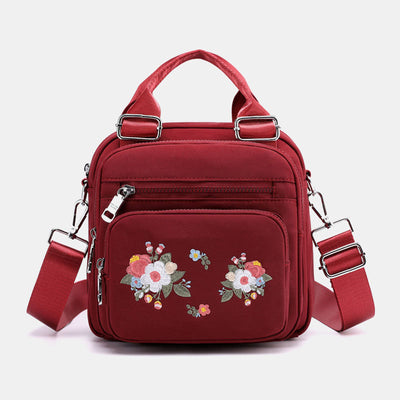 Women Nylon Embroidered Multi-carry Crossbody Bag Handbag