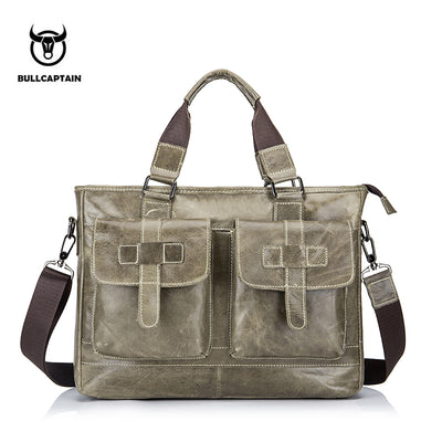 Men's BULLCAPTAIN Fashion cowhide male commercial briefcase /Real Leather vintage messenger bag/casual Business bag
