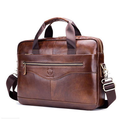 Men's  BULLCAPTAIN Leather Shoulder Messenger Bag Head Layer Cowhide Multifunctional Hand Briefcase