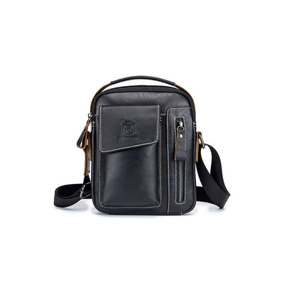 Men's BULLCAPTAIN leather first layer cowhide shoulder crossbody sports leather vertical  bag