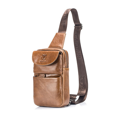 Men's BULLCAPTAIN Genuine Leather Chest Bag Crossbody Bags Small Causal Shoulder Bag Message Bags