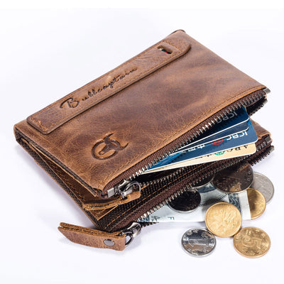 Men's BULLCAPTAIN retro leather wallet leather zipper buckle short money wallet card holder coin purse RFID wallet QB06