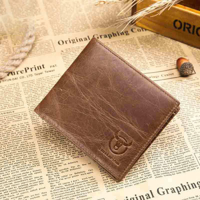 Men's BULLCAPTAIN leather wallet multi-function folding multi-card leather handmade wallet driver's license wallet