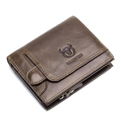 Men's BULLCAPTAIN New Leather Coin Purse RFID Wallet