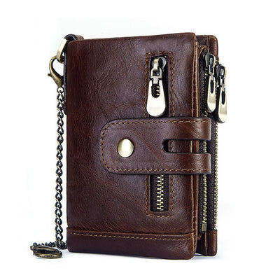 Men's RFID Anti-theft Brush Wallet Multi-Card  Leather Leather Wallet Coin Purse